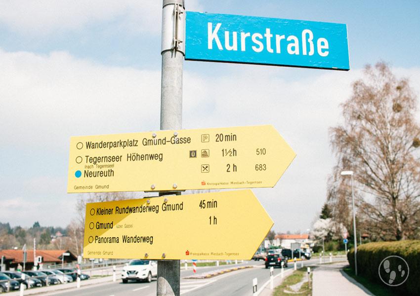 Wegweiser Kurstraße Gmund am Tegernsee