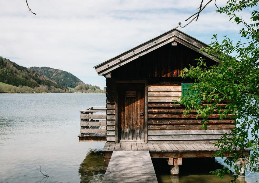 Fischerhütte am Schliersee wandern mit Kinderwagen