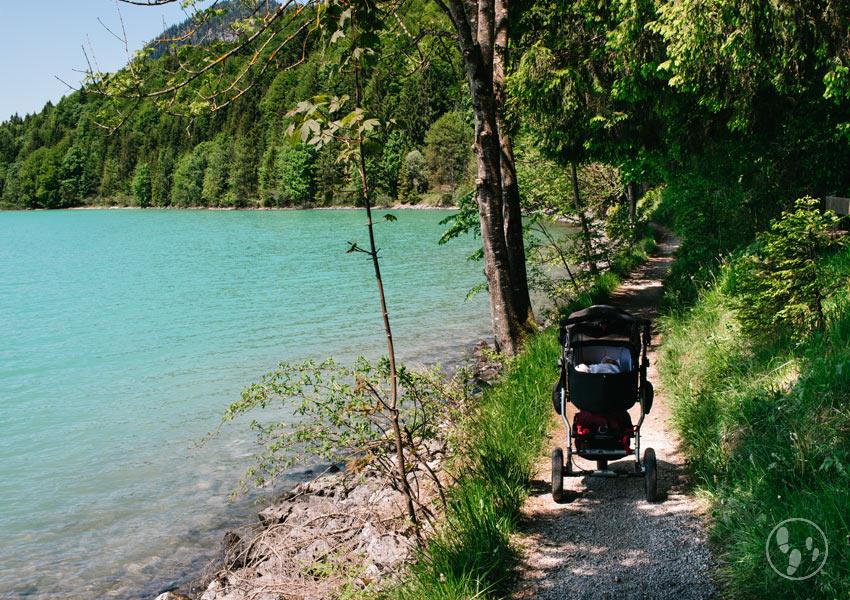 Wandern mit Kinderwagen am Walchensee Uferweg