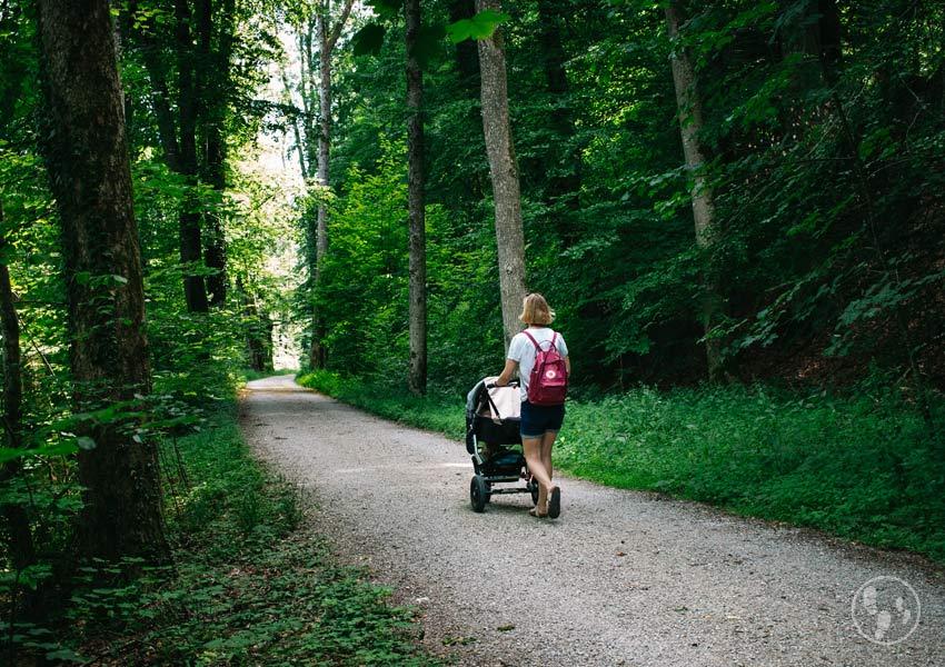 Wandern Herreninsel mit Kinderwagen