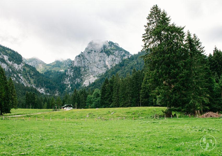 Hintere Längentalalm mit Benediktenwand