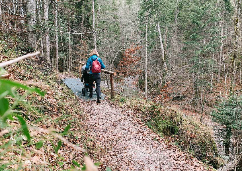 Waldweg mit Kinderwagen zum Wasserfall in der Jachenau