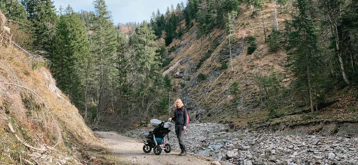 Kinderwagenwanderung zum Glasbach Wasserfall Jachenau