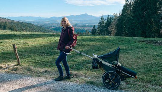 Wandern auf den Taubenberg mit Kinderwagen