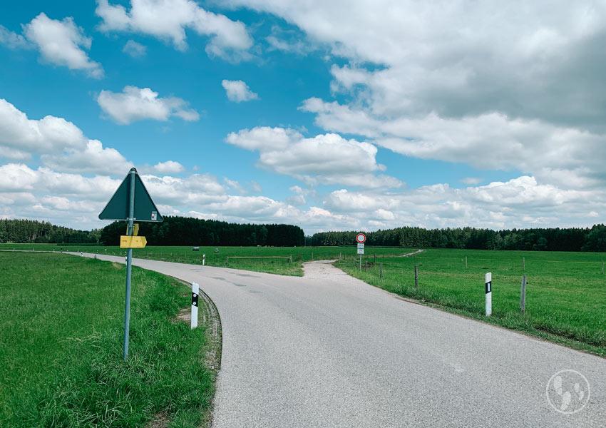 Feldweg bei Schmidham zurück nach Mitterdarching
