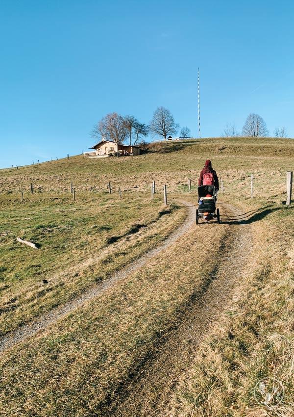 Weg mit Kinderwagen zum Weyarner Lindl
