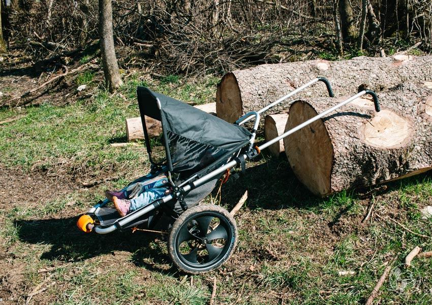 Hike Kid angelegt an Baumstämme