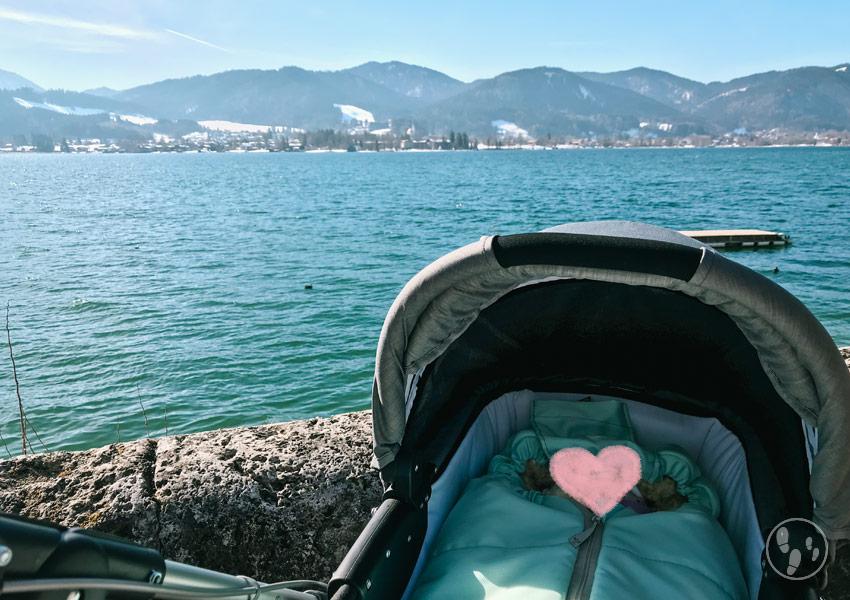Lammfellfußsack für Wanderungen mit Kinderwagen im Winter