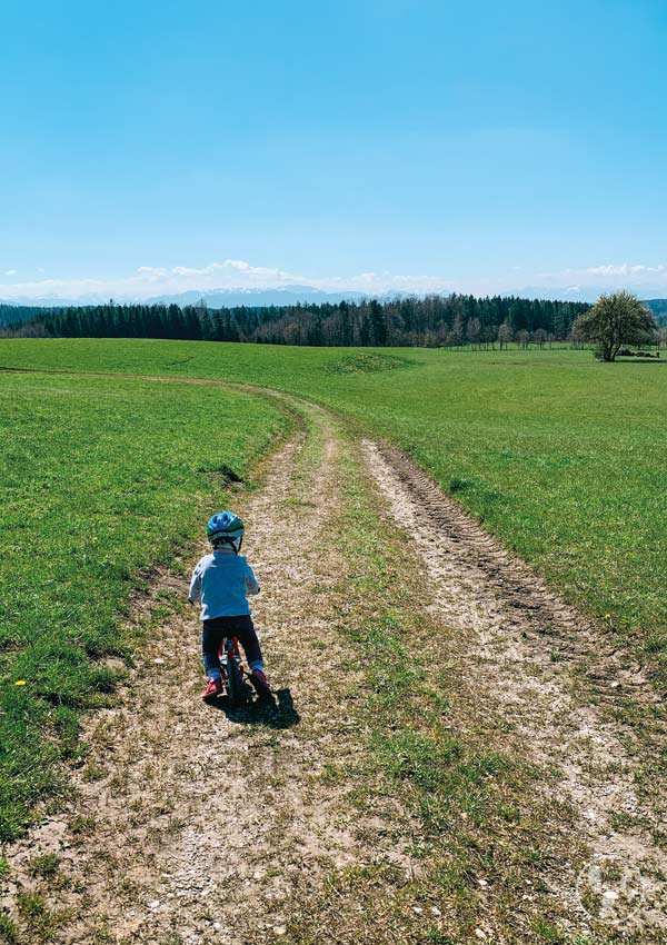 Kind mit Laufrad auf der Ludwigshöhe mit Alpenpanorama